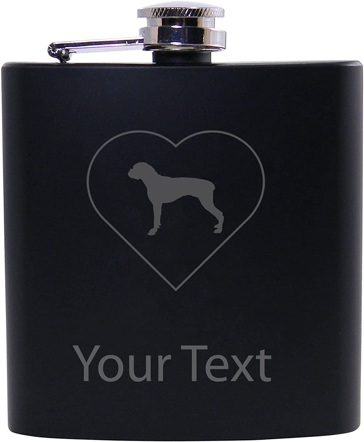 Personalized Custom Boxer Heart Black Stainless Steel Hip Customizable Flask