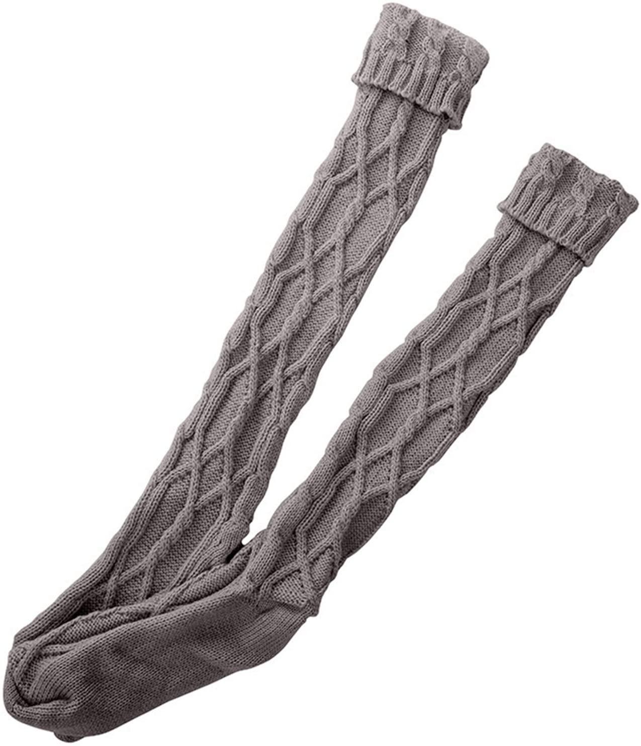 MoO1deer Womens Thigh High Socks, Over The Knee Socks, Leg Warmers, Women Autumn Winter Braided Knitted Knee-Length Socks Stockings Leg Warmers for Women Apricot One Size