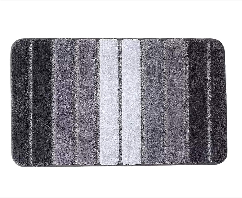 Microfiber Bathroom Stripe Rug Mat, Non Slip Absorbent Cozy Soft Mat Bathroom Rug Carpet for Shower Room Toilet Bathroom Mat (19.6x31.4 inch, Black)