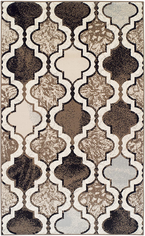 SUPERIOR Gudrun Indoor Area Rug, Super Soft, Durable, Elegant, Geometric, Trellis Pattern, Mid-Century, Contemporary, Jute Backing, Ivory, 8' x 10' Rug