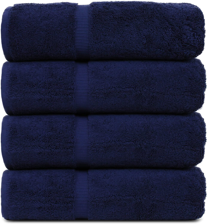 BC BARE COTTON Luxury Hotel & Spa Towel Turkish Cotton Bath Towels - Navy Blue - Dobby Border - Set of 4
