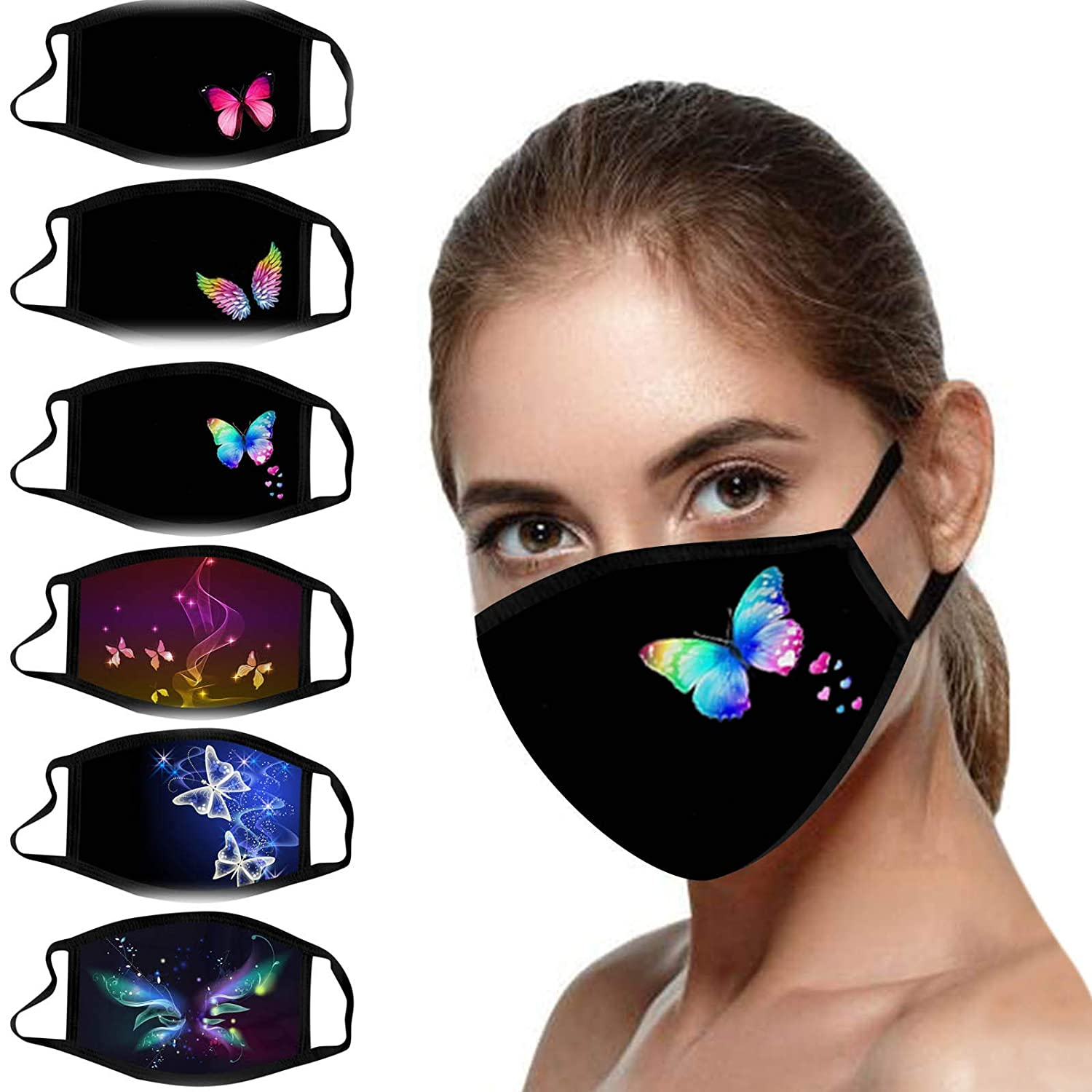 Lavany Womens Butterfly Cotton Face Bandanas_Mask_Cover, 6PC Halloween Party Christmas Ear loop Mouth Anti-Foggy Protection Activated Carbon Washable Covering for Women
