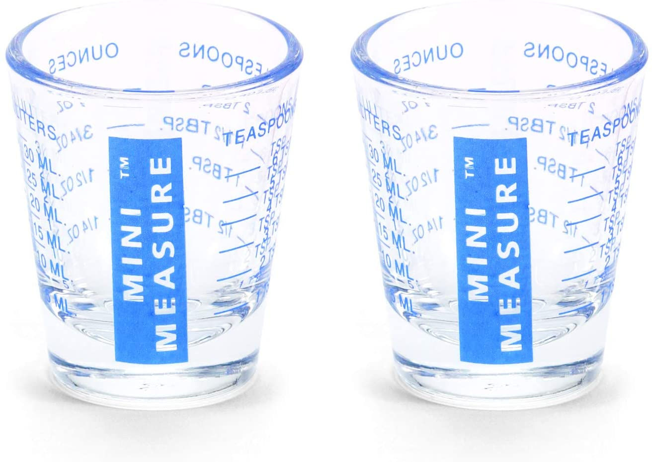 Kolder Mini Measure Heavy Glass, 20-Incremental Measurements Multi-Purpose Liquid and Dry Measuring Shot Glass, Blue, Set of 2
