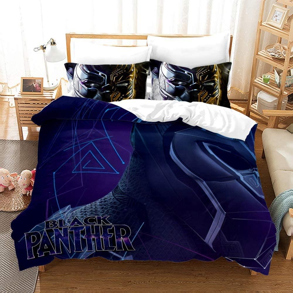Viuseay Marvel Black Panther Bedding Set King 3PCS for Kids Boys, Dark Blue Comforter Cover Soft Microfiber, Duvet Cover Set King Size(1 Duvet Cover, 2Pillowsham)