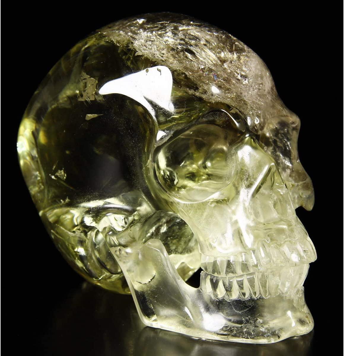 Skullis Citrine Crystal Skull, Hand Carved Gemstone Fine Art Sculpture, Reiki Healing Stone Statue. (Select Size)