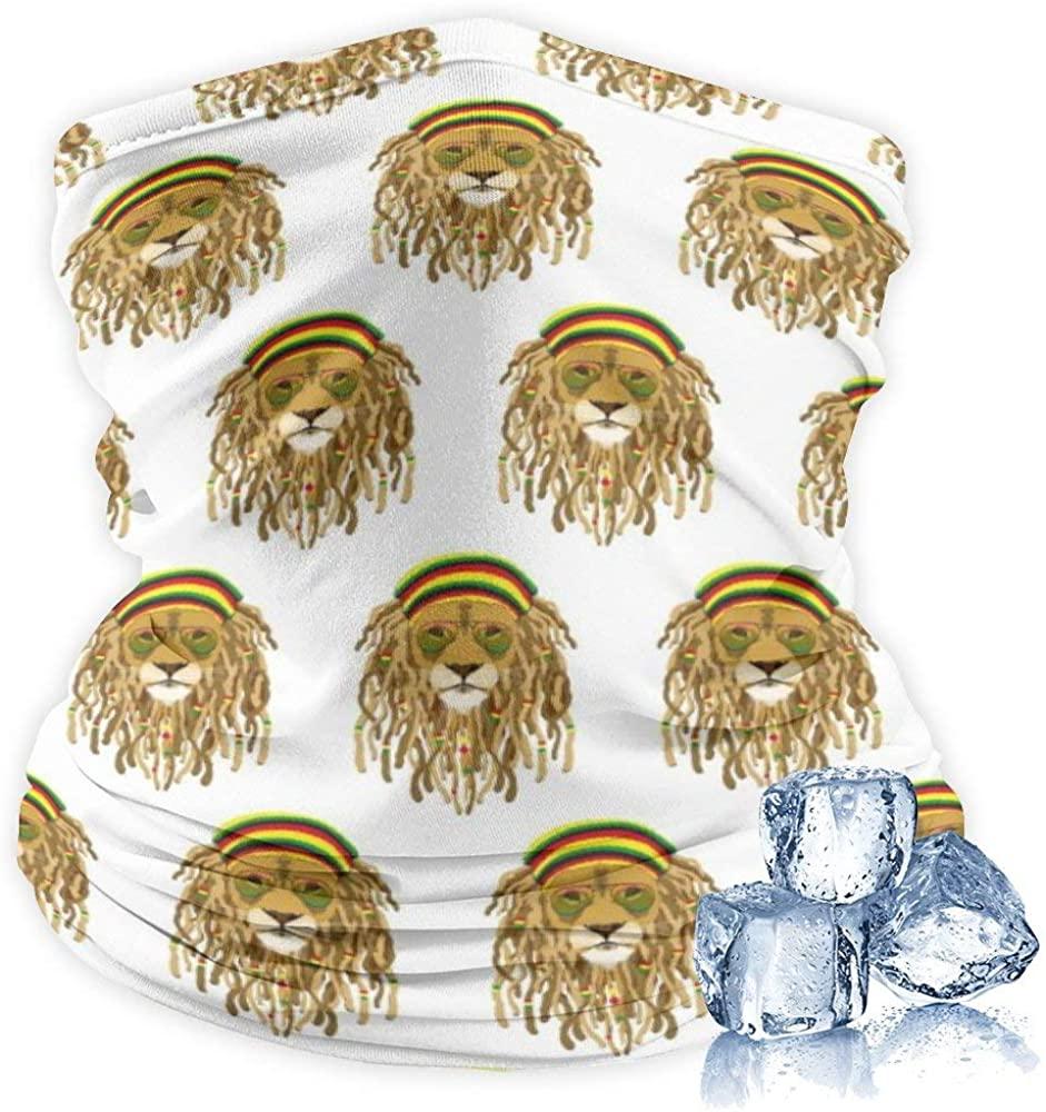 Cooling Neck Gaiter 12+ Ways To Wears, Face Mask for Women Men Rasta Lion Raggae Jamacia Face Scarf