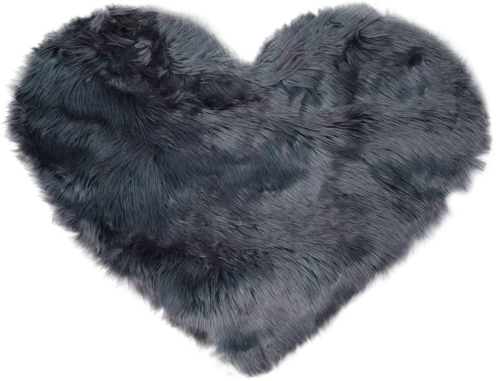 uxcell Heart Shaped Love Soft Faux Sheepskin Fur Plush Area Rugs for Home Living Room Sofa Floor Mat Bedroom 2.3ftx3ft, Dark Gray