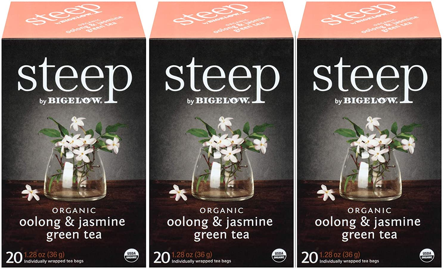 steep Organic Oolong with Jasmine Green 20 Count Box (Pack of 3), Certified Organic, Gluten-Free, Kosher Tea in Foil-Wrapped Bags
