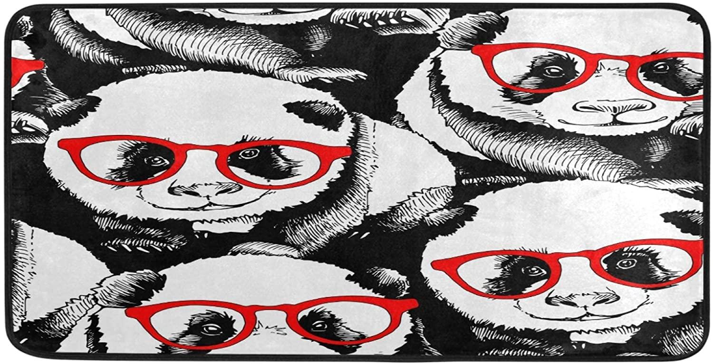 Ombra Kitchen Floor Mat Black White Panda in Red Glasses Non Slip Absorbent Runner Rugs Doormat for Entryway Entrance Bathroom Garage Home Decor Indoor Outdoor 39