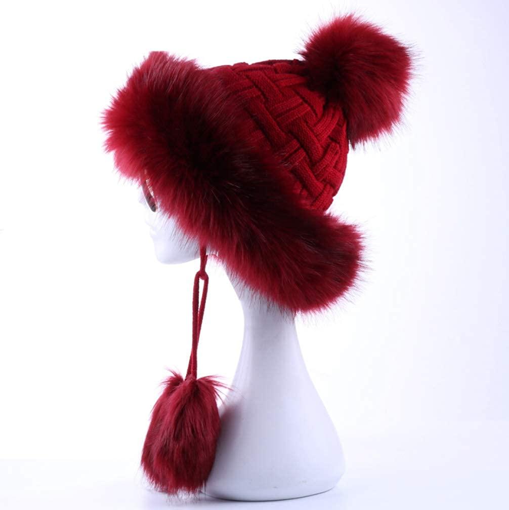 Women Winter Bomber Hat Knitted Snow Hats Pom Pom Trapper Aviator Cap Faux Fur Earflaps Caps