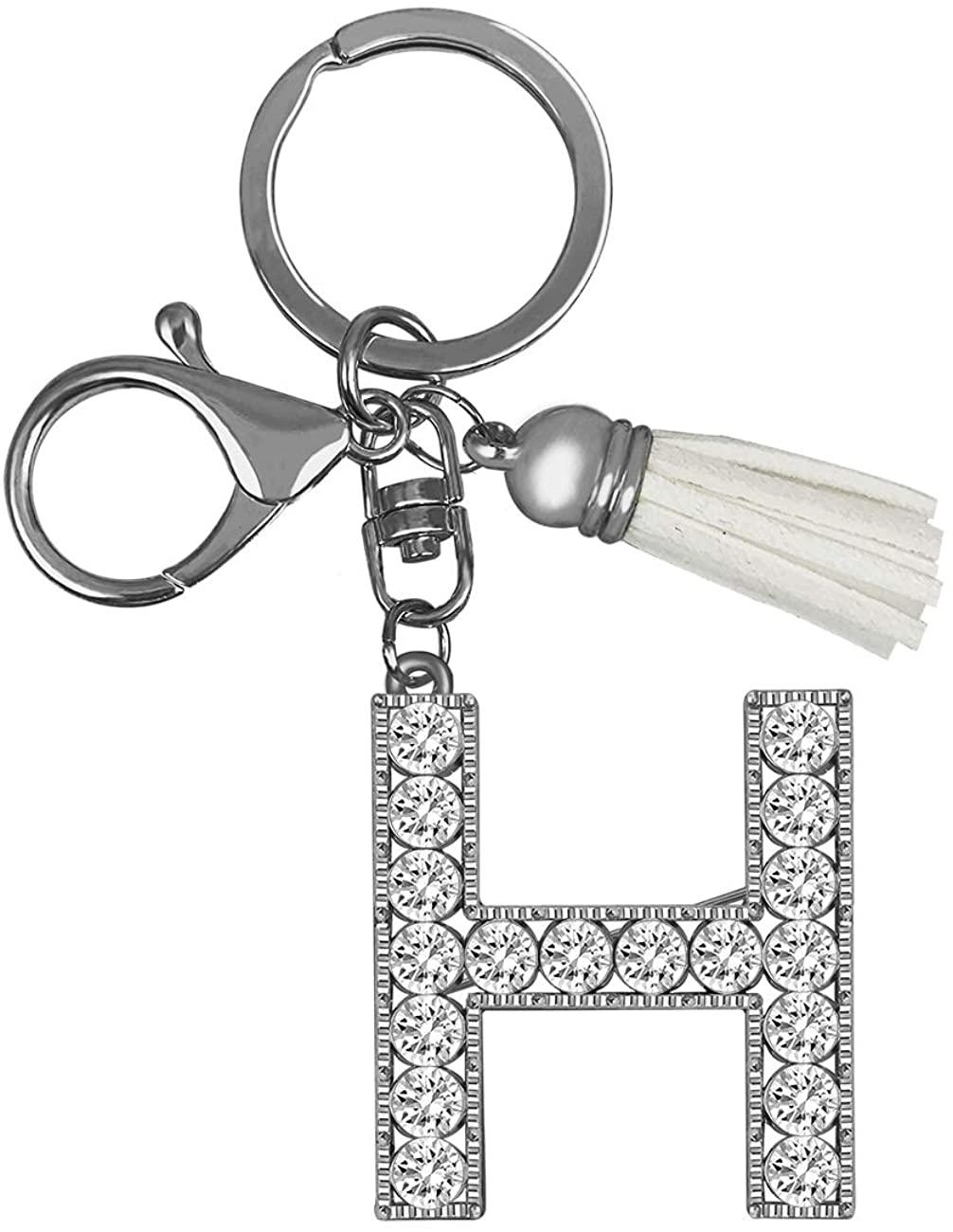 XGALBLA Alphabet Letter(A-Z) Crystal Keychain Sparkling Charm Purse Pendant Handbag Bag Key Ring Friend Gift