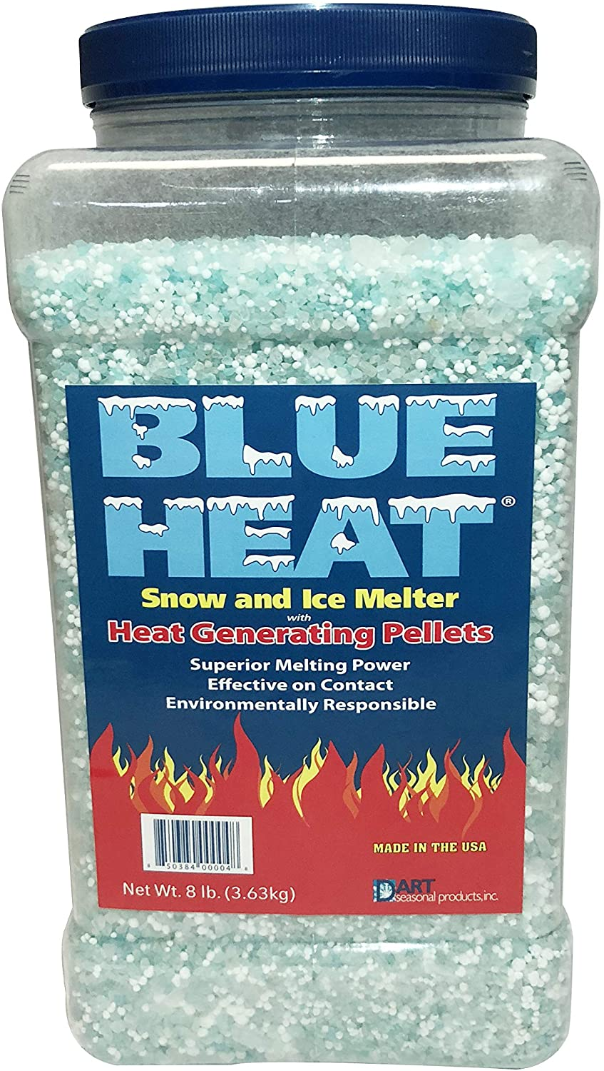 Blue Heat Snow and Ice Melt - 8 Pound Easy Pour Jug - Industrial Grade Heat Generating Rock Salt Pellets - Calcium Chloride and Magnesium - Blue Tint - Concrete Safe - Works in -25° F