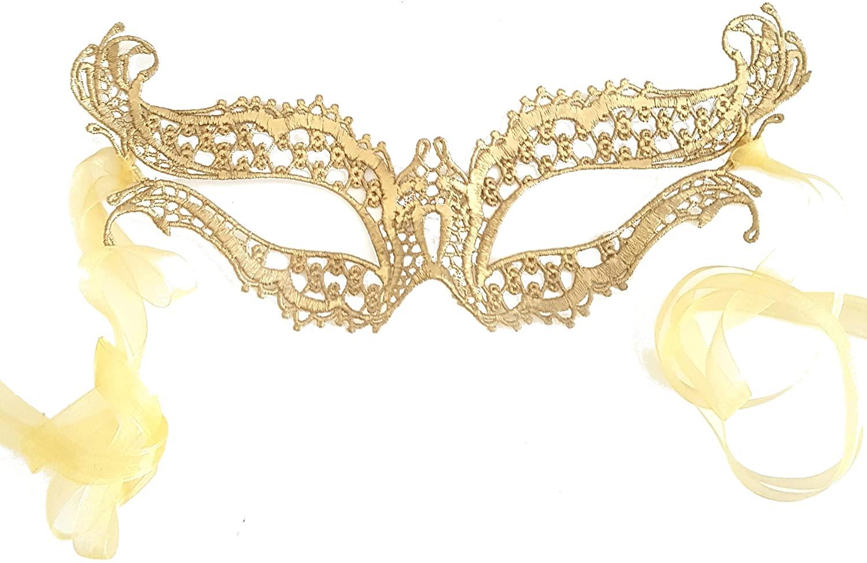 Samantha Peach Venetian Lace Masquerade Mask - Elegant Luxury Katherine Women's Masked Ball Mask