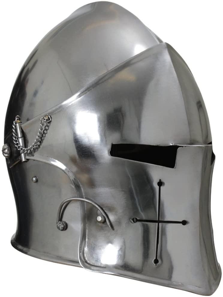 NauticalMart Visored Barbuta Helmet Armor Silver