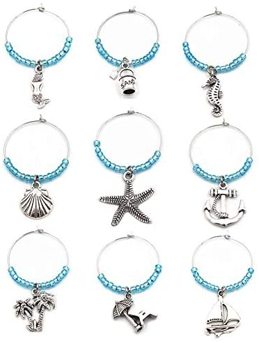 Beach Wine Glass Charm Ring Set(9pcs/set) Marine Theme Drink Markers,Gift For Wine Lover
