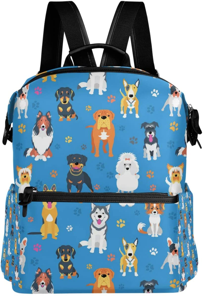Oarencol Cute Cartoon Dogs Paw Backpack Colorful Animal Print School Book Bag Travel Hiking Camping Laptop Daypack Blue