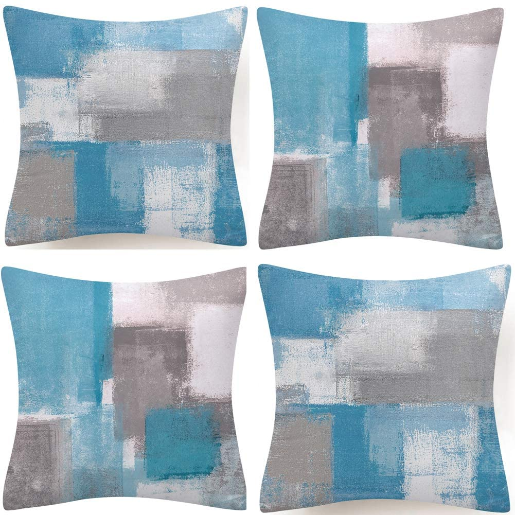 BJYHIYH Blue and Gray Pillow Covers 18