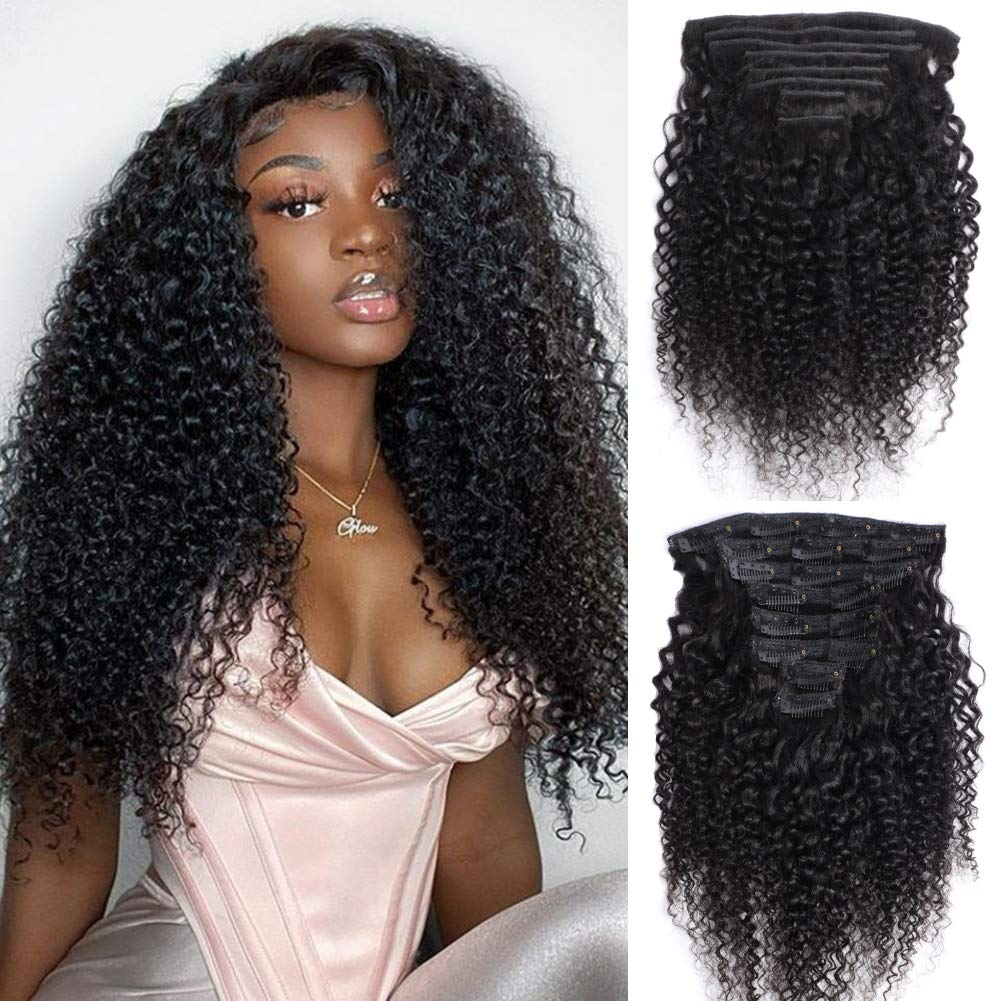 Kinky Curly Clip in Human Hair Extensions Double Weft Lemoda Kinky Curly Clips for Black Women 9A Brazilian Human Hair 8 Pieces 120g with 18 Clips (18 Inch)