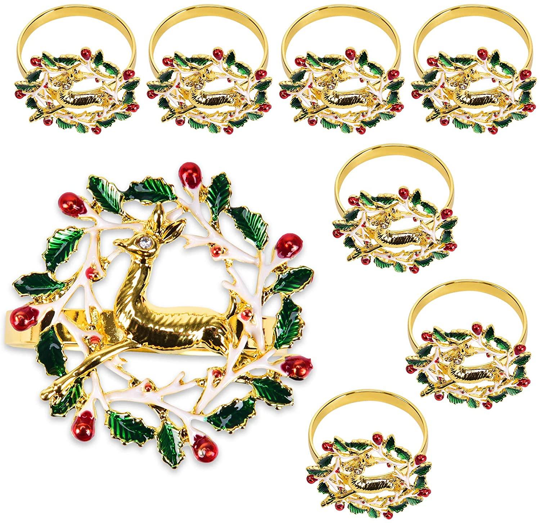 Ensunpals Napkin Rings,Christmas Napkin Rings Sef of 8,Xmas Napkin Ring Holders Dinner Tables Rings for Christmas, Thanksgiving,Weddings,Family Gatherings Table Settings Decoration (Elk & Garland)