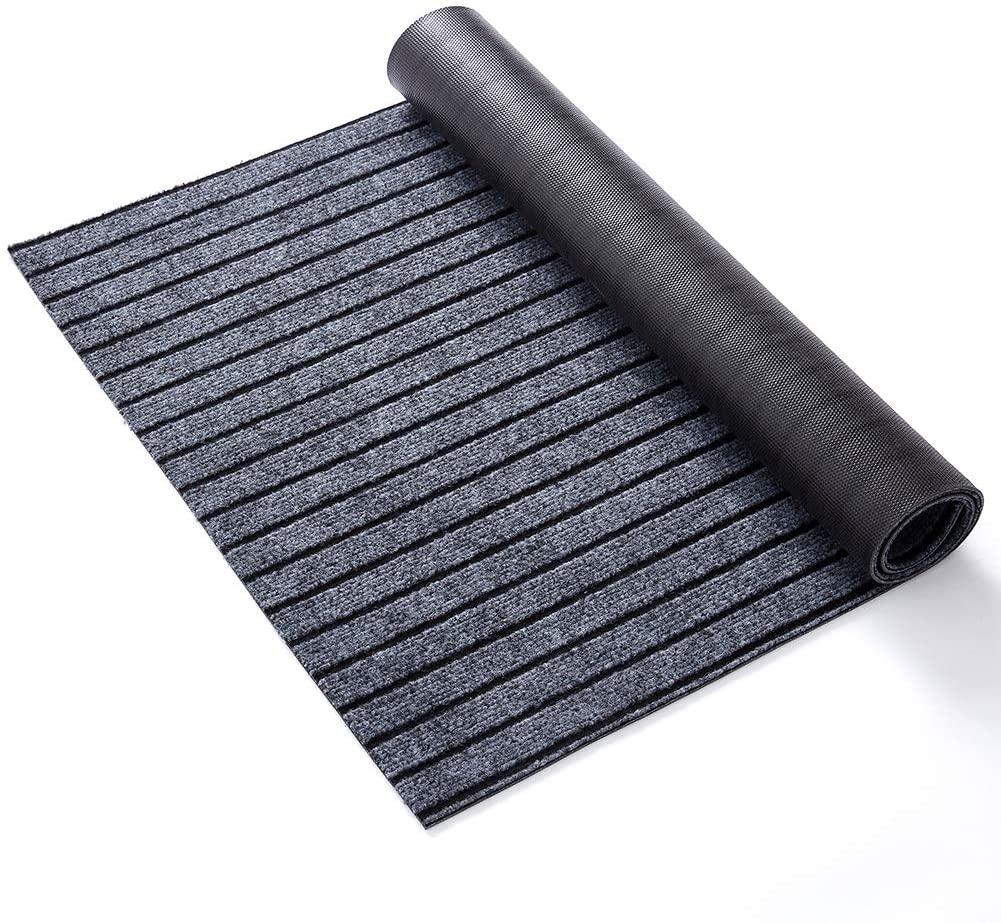 GAEA.TEX Extra Large Durable Heavy Duty Rubber Outdoor Doormat, 61x35 inches Indoor Waterproof Wearproof Easy Clean Striped Floor Door Mat for Entrance, Hallway, Kitchen, Patio, Gray