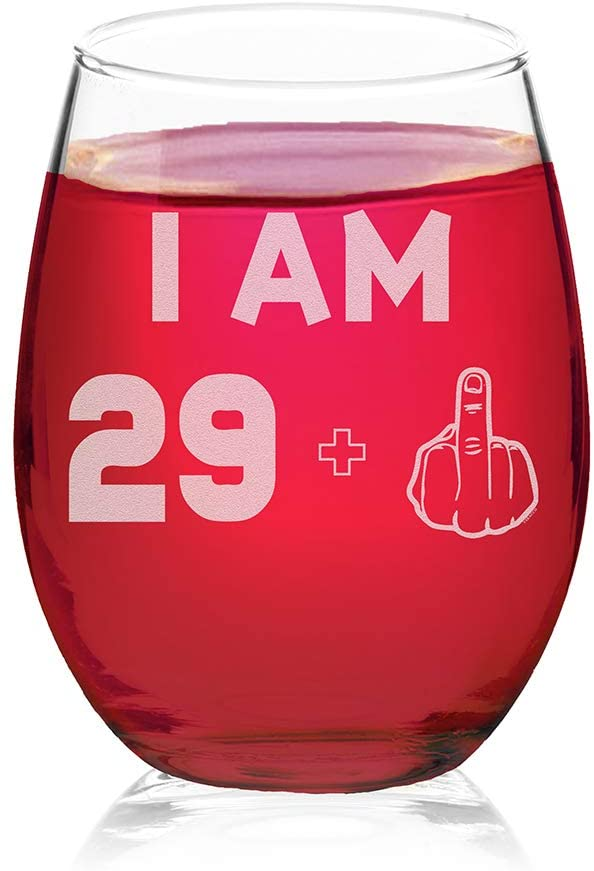 Veracco I am 29+1 Middle Finger Stemless Wine Glass 30th BirthdayGift For Him Her Thirty and Fabulous (Clear, Glass)
