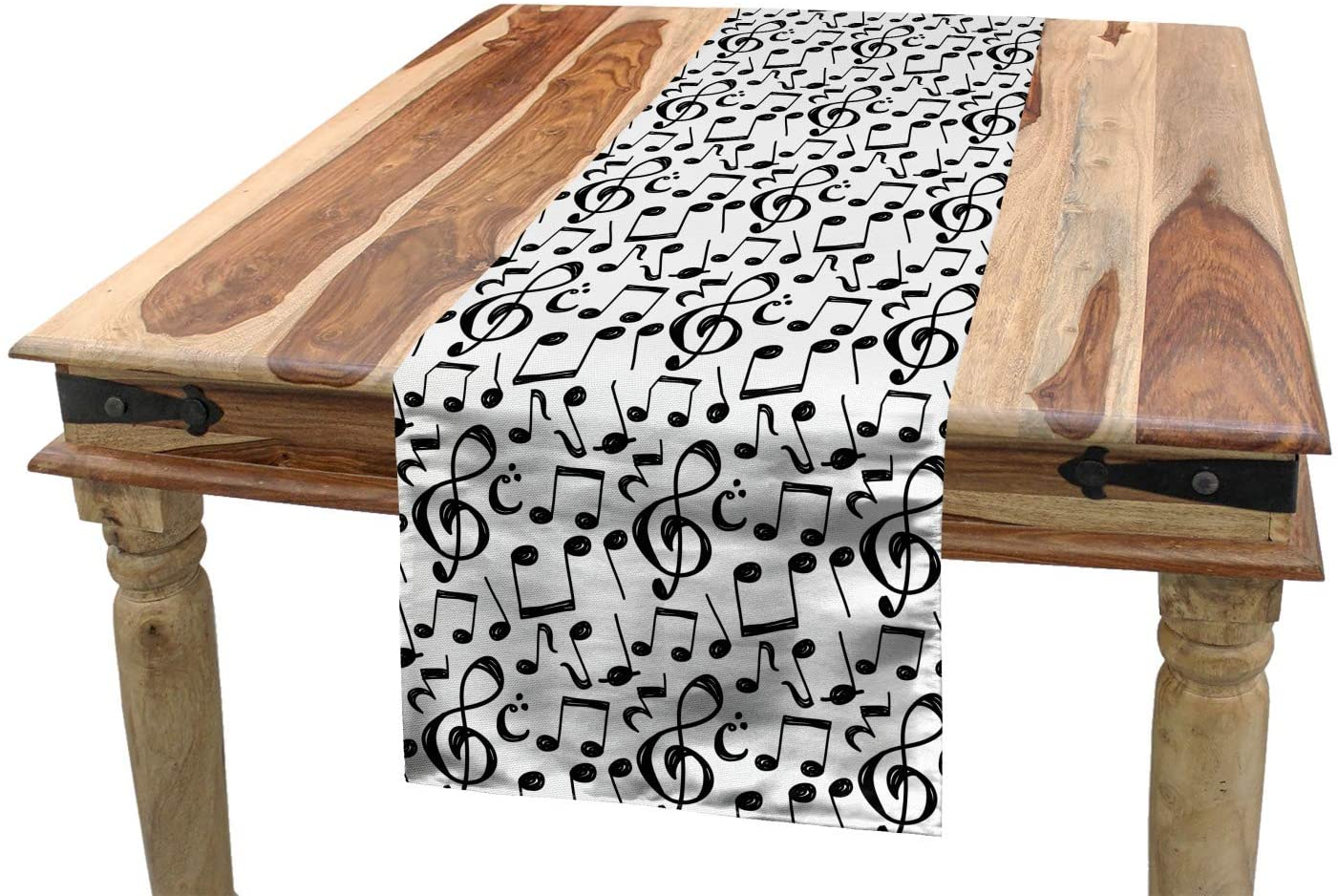 Ambesonne Music Table Runner, Sketchy Musical Notes and Melody Entertainment Fine Arts Theme Pattern, Dining Room Kitchen Rectangular Runner, 16