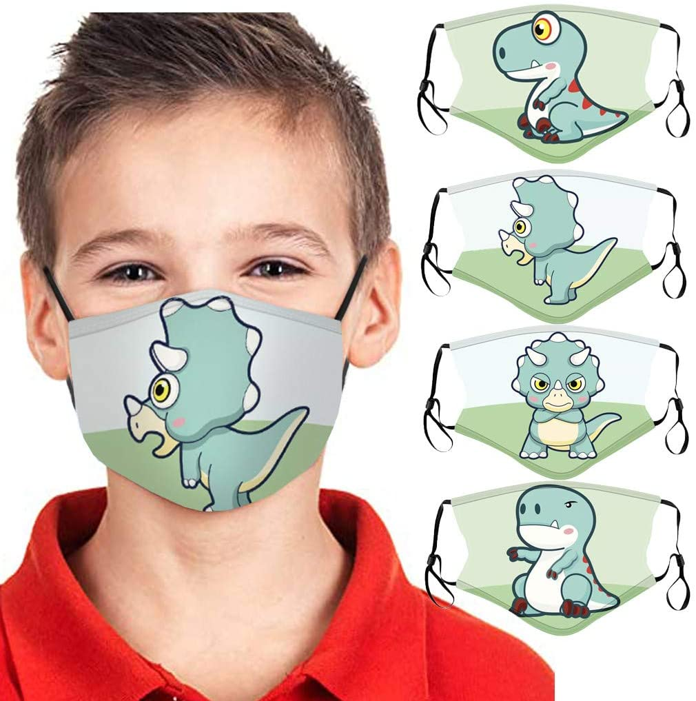 jayotai 4PCS Can Adjust The Size, Cartoon Dinosaure Cotton Dustproof for Children Fashion Face Protective, Face Bandanas Shield Reusable Washable Cotton Fabric