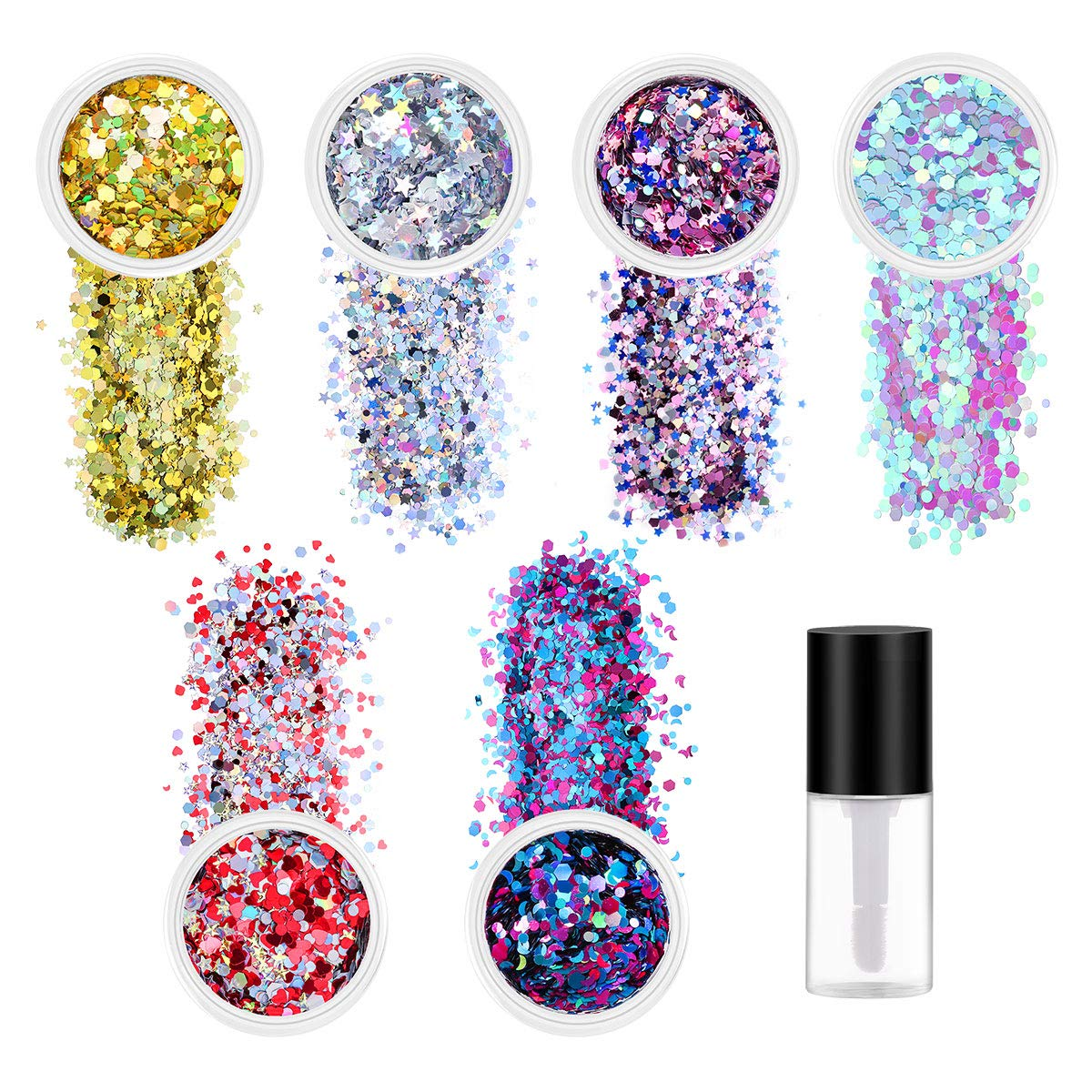 Face Body Glitter, NICEAUTY Holographic Chunky Glitter 6 Colors for Face Body Eye Hair Nail for Festival Makeup for Halloween, Daily Looks,Party Looks, with Different Sized Stars and Hexagons