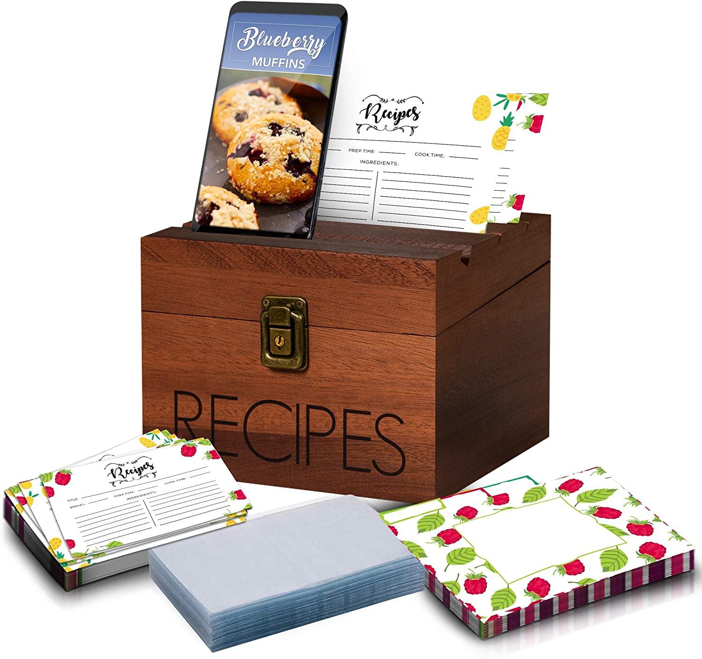 Sapele Recipe Box with Card, Protectors