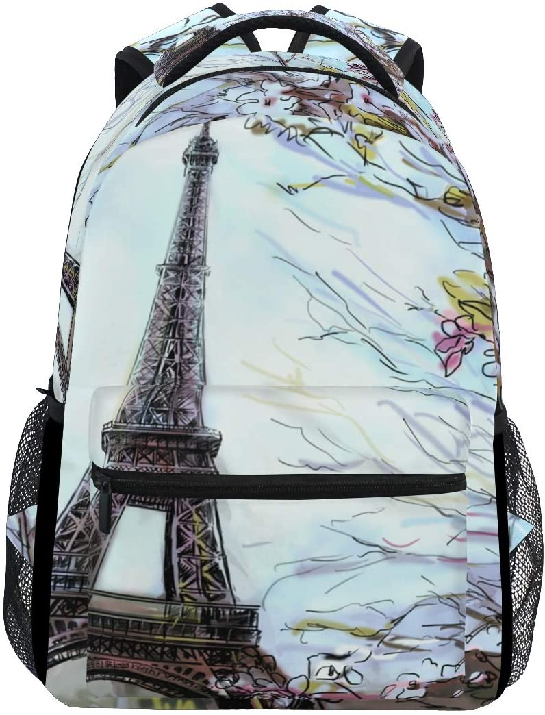 ALAZA Watercolor Eiffel Tower & Flower In Paris Art Stylish Large Backpack Personalized Laptop iPad Tablet Travel School Bag with Multiple Pockets for Men Women College
