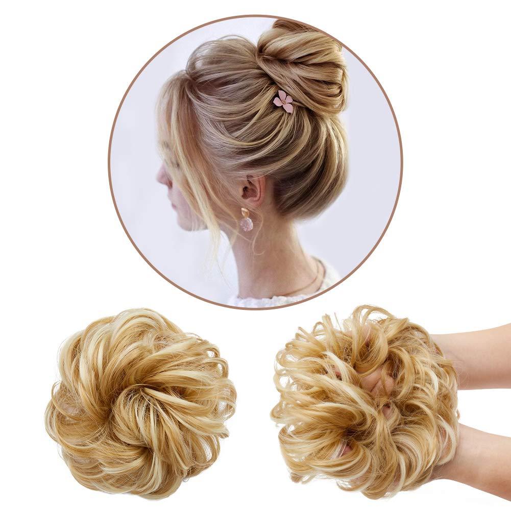 Akkya Messy Bun Hair Piece Scrunchie Extensions for Women Rose Hair Bun Top Knot Instand Faux Bun