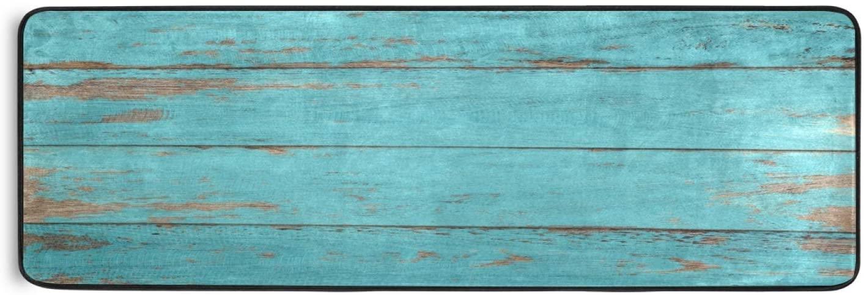 Area Rug Runner Vintage Teal Wooden Board with Peeling Paint Non Slip Soft Doormats Carpet for Hallway Bathroom Kitchen Laundry Bedroom 72 x 24 Inch