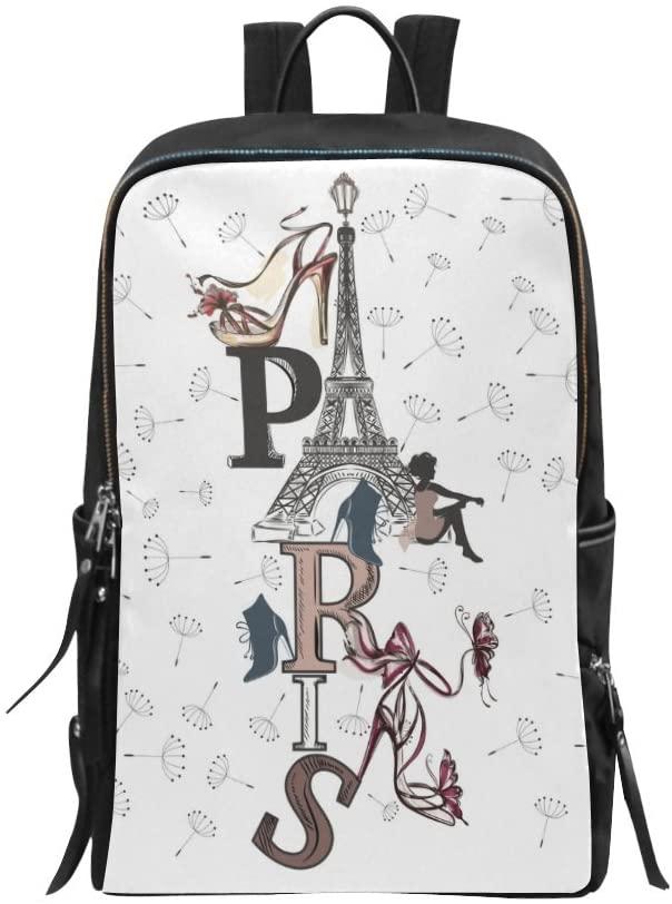 Fashion Paris Eiffel Tower High Heel Girl and Dandelions Bag Backpack Daypack