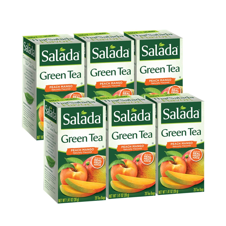 Salada Peach Mango Green Tea, 120 Individually Wrapped Tea Bags (Pack of 6)