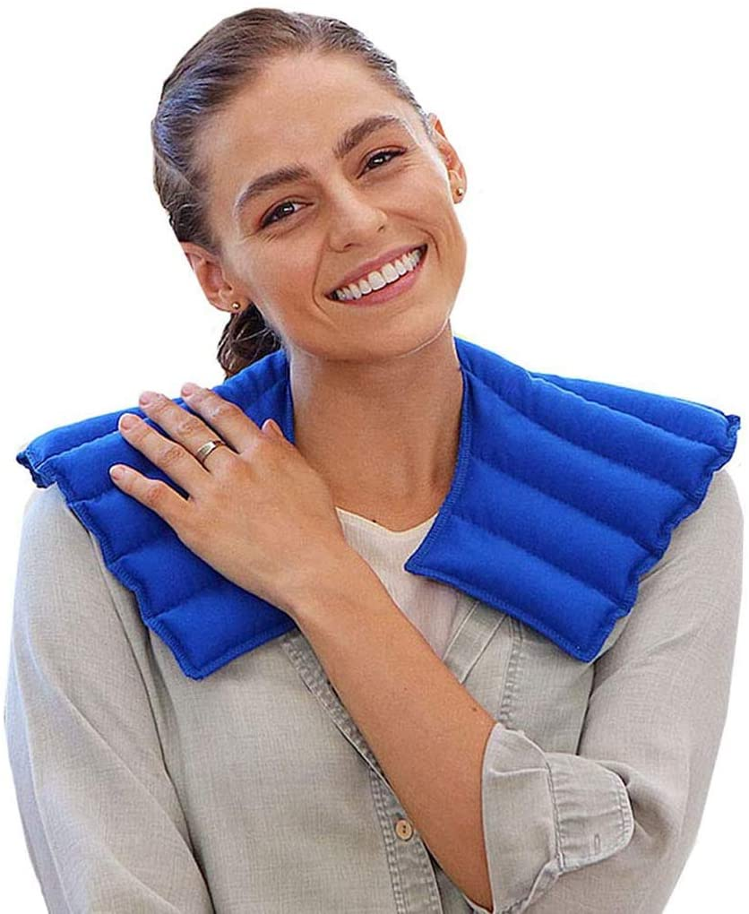 My Heating Pad Neck Warmer Microwavable | Heated Neck Wrap for Natural Neck and Shoulder Pain Relief | Aromatherapy Neck Heating Pad | Relax and Relief Stress and Tension- Lavender Scent (Blue)