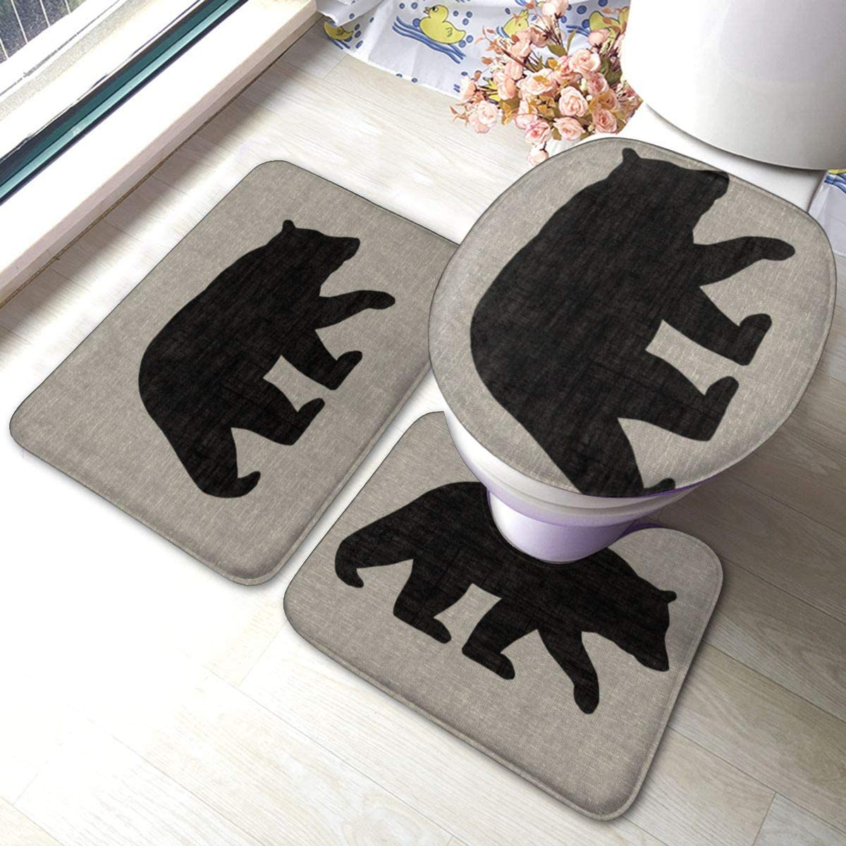 FFCrying Black Bear Silhouette Soft Flannel Bathroom Rug Mats 3 Piece Set Bath Mat + Contour Rug + Toilet Lid Cover with Non-Slip Backing Pad