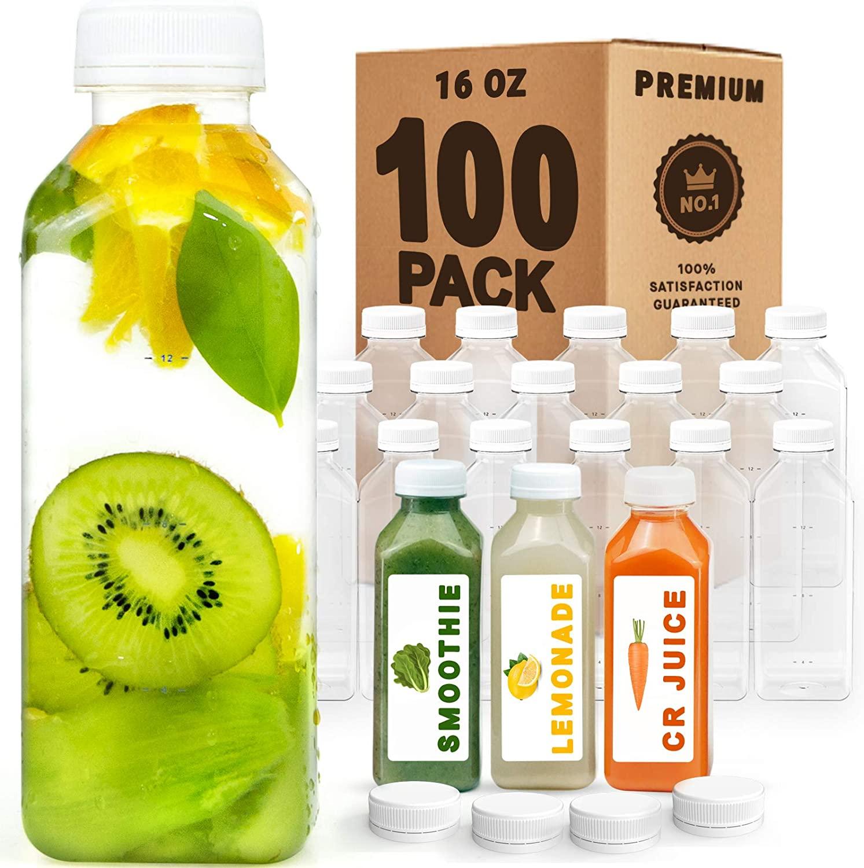 Norcalway 16 oz Bulk Plastic Juice Bottles with Caps Lids - Smoothie Bottles, Drink Juice Containers with Lids, Reusable Juice Bottles for Juicing, 100 Pk
