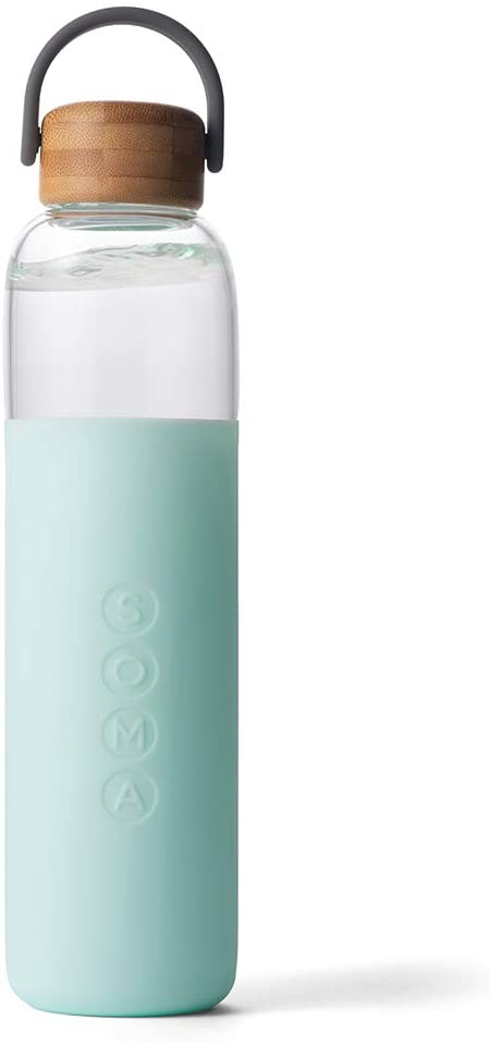 Soma BPA-Free Glass Water Bottle with Silicone Sleeve, Mint, 25oz