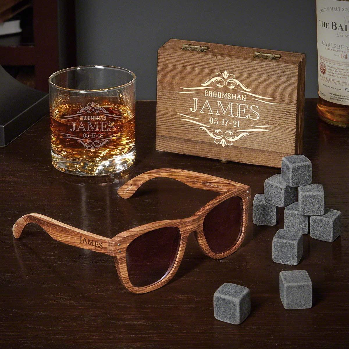Personalized Wilshire Buckman Glass and Whiskey Stone Box Set (Custom Product)