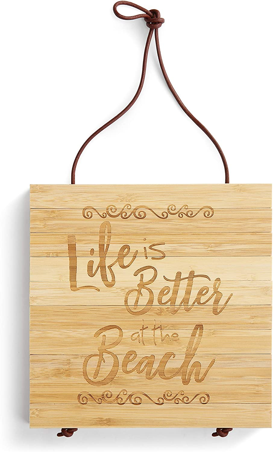 Life Better At The Beach Natural Brown 8 x 8 Bamboo Wood Expandable Trivet