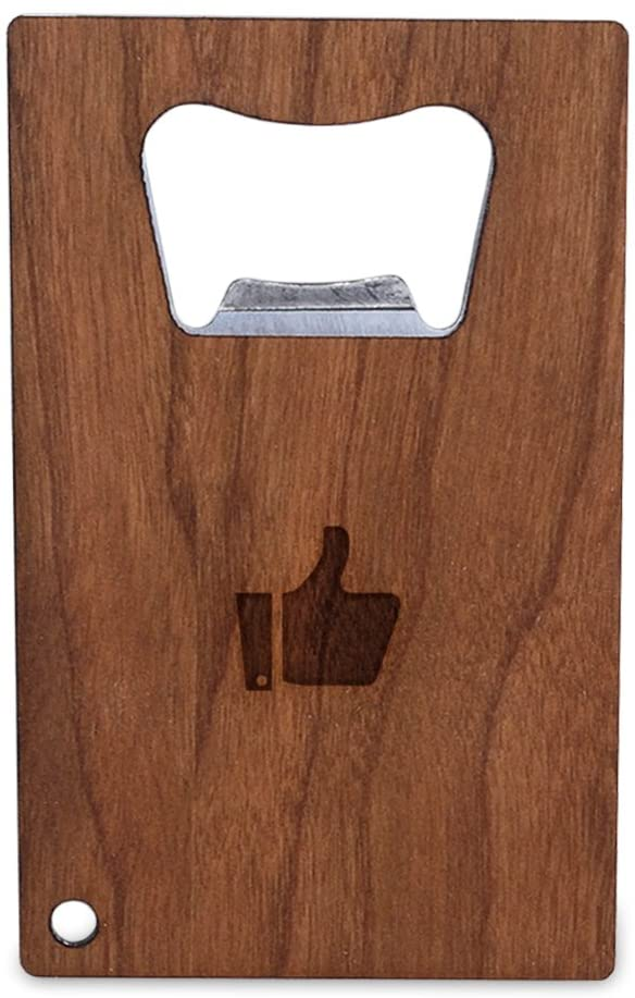 WOODEN ACCESSORIES COMPANY Credit Card Sized Bottle Opener With Laser Engraved Thumbs Up Design- Stainless Steel Bottle Opener With Wooden Front Panel - Slim And Wallet Size
