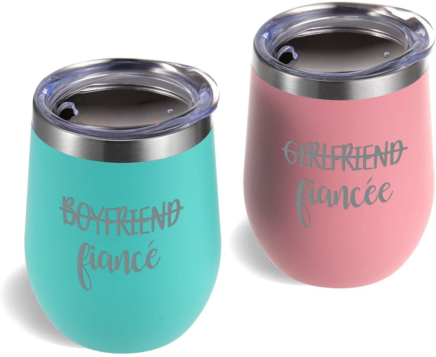 ZTA Fiance Fiancee Wine Tumbler Set, Engagement Ideas for Girlfriend and Boyfriend Friend, 12 Oz Funny Couple Stainless Steel Insulated Tumbler with Lid, Blue and Pink