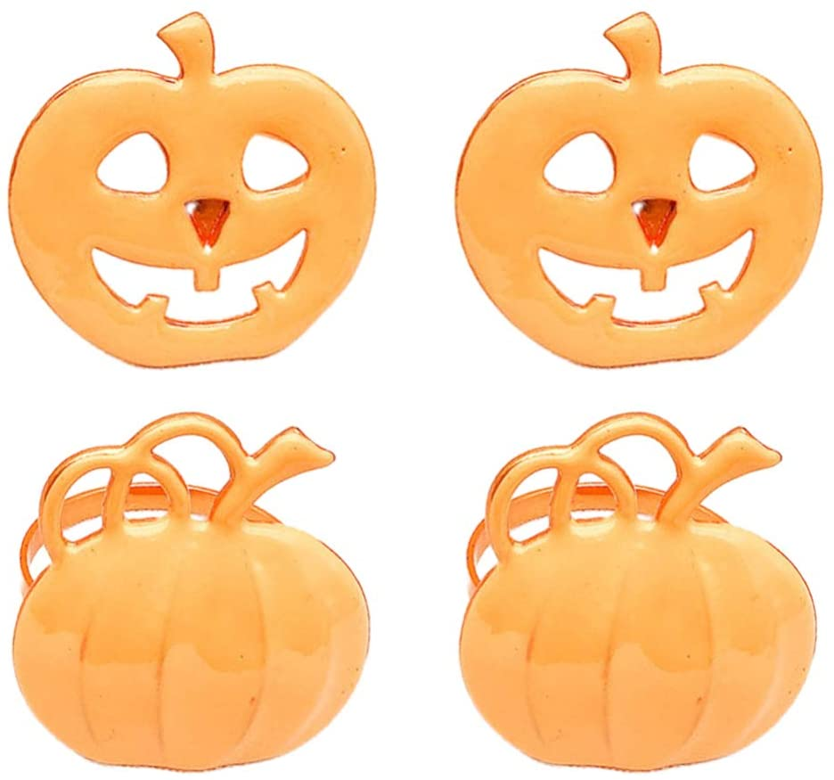 YARNOW 4PCS Pumpkin Halloween Napkin Rings,Metal Alloy Serviette Buckles Holder for Halloween, Thanksgiving, Christmas Dinner Parties(Gold Pumpkin-Two Styles)