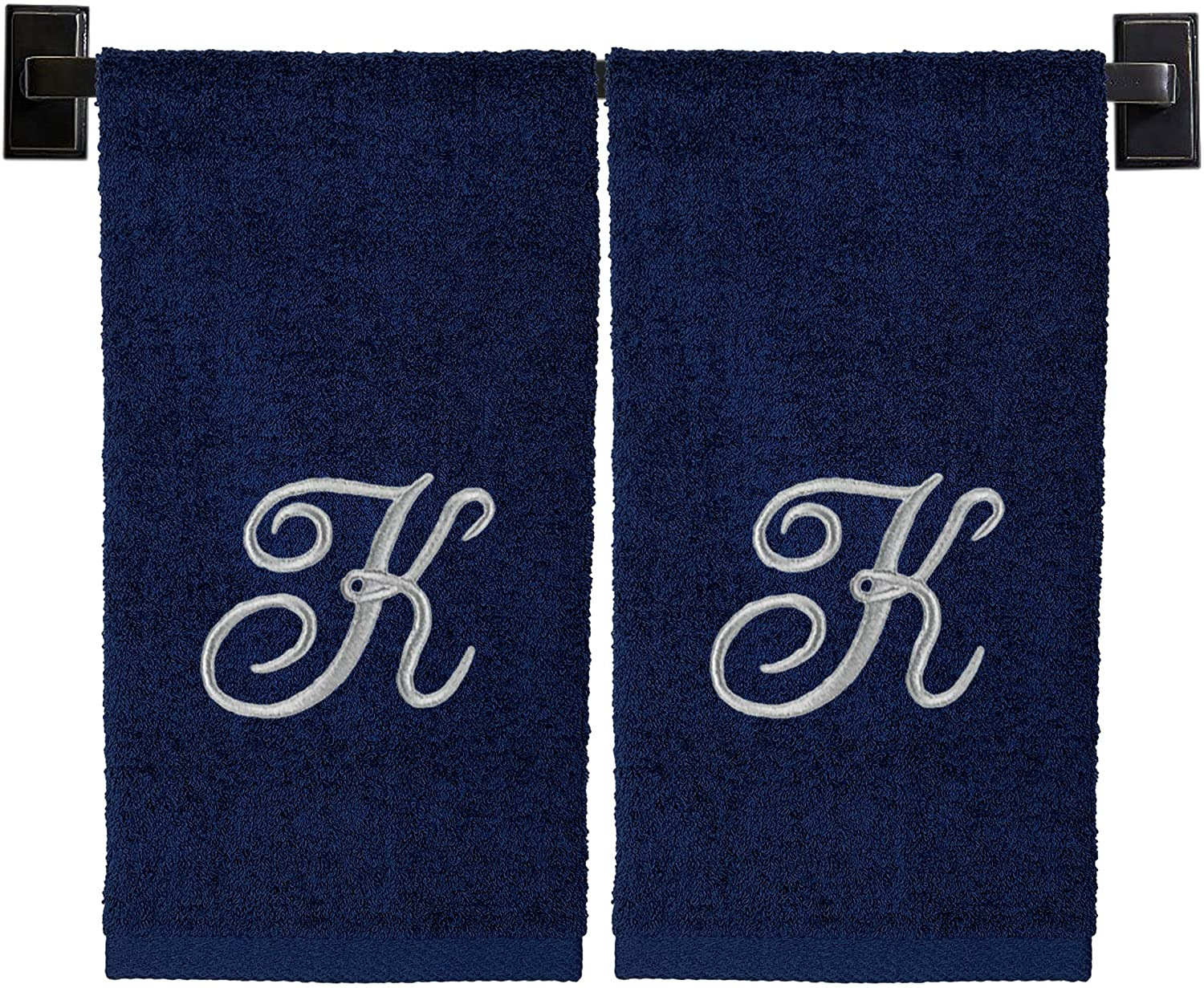 Monogrammed Hand Towels, Set of 2, 100% Cotton, Made in USA, Luxury Hotel Quality, Embroidered Silver Thread Script Monogram