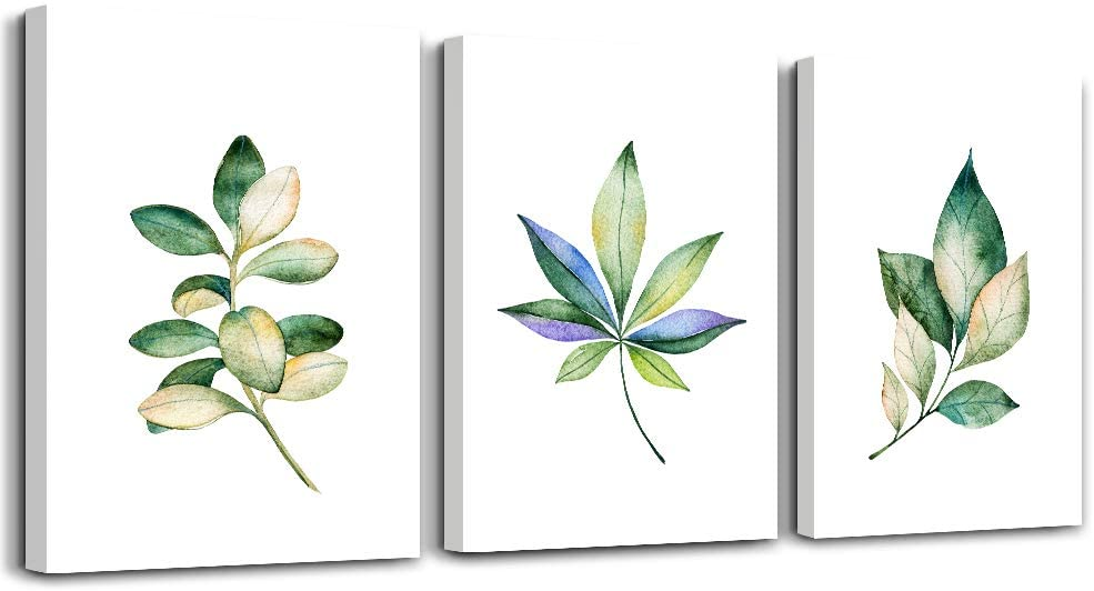 canvas wall art for living room 3 piece bathroom wall decor for bedroom kitchen wall paintings works of art canvas prints Green leaf plants flowers Watercolor painting home decoration wall Artwork