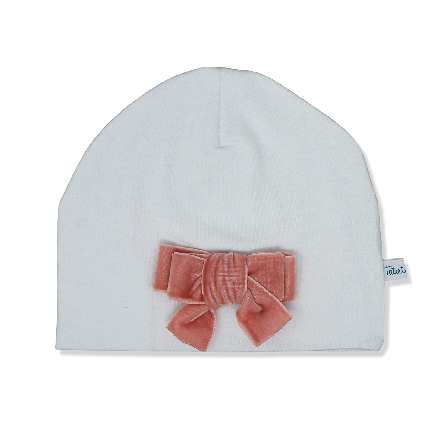 Tatertots 100% Cotton White Beanie for Newborn 0-3 Months, Warm Soft Woven Baby Hat with Pink Velvet Bow Applique