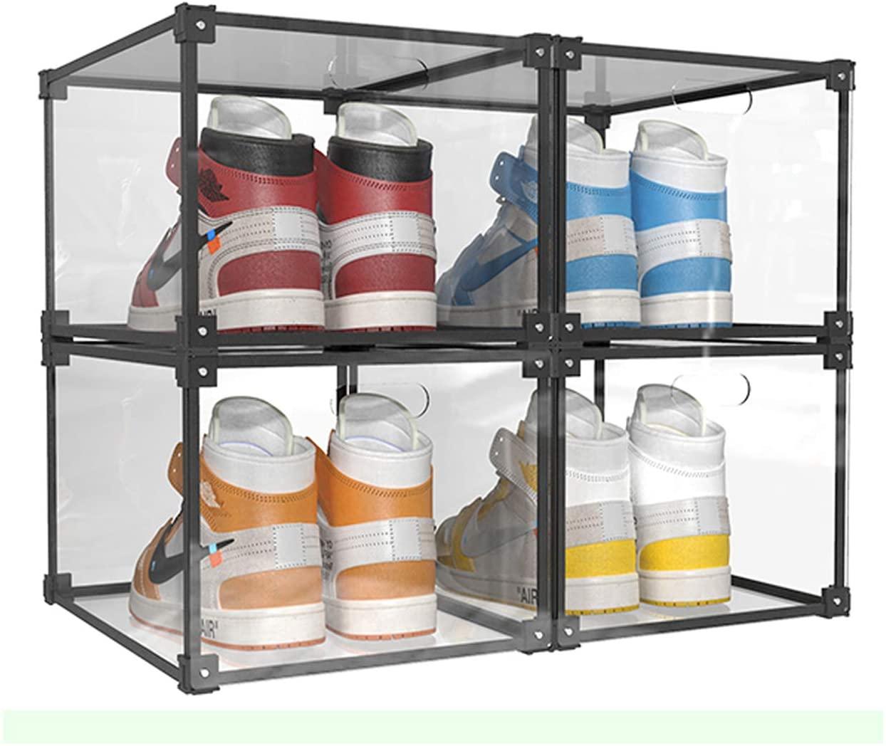 KOKOIN Magnetic Transparent Womens Mens Plastic Storage Shoe Box Drop-Front Door Storage Shoe Box Sneaker Storage Box Display Box Shoe Container Clear Closet Shelf Shoe Organizer (4PC)