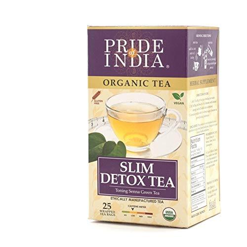 Pride Of India - Organic Slim Teatox Tea - 25 Count, 6-Pack (150 Tea Bags) - Triple Leaf Senna Green Lemongrass Toning Tea, Antioxidant & Metabolism Boost, Superb Value, Low Caffeine