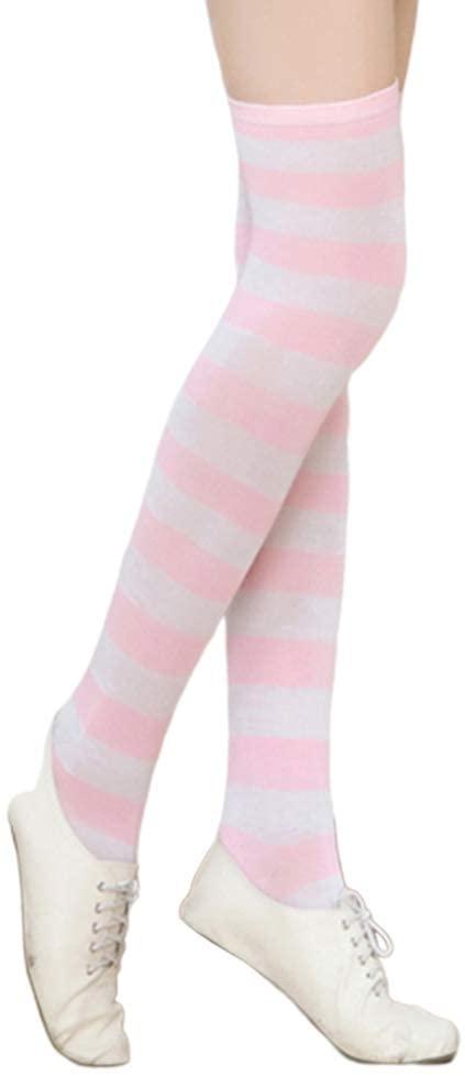 MoO1deer Womens Thigh High Socks, Over The Knee Socks, Leg Warmers, 1 Pair Women Fashion Stretch Color Striped Over The Knee Thigh High Long Socks for Women L