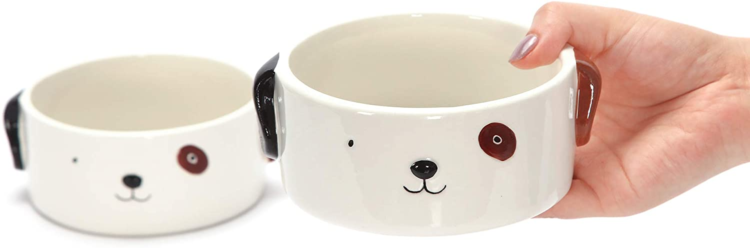 Kurrajong Farmhouse Set of 2 Ceramic Dog Bowls for Small Dogs - 4.5 Wide x 2 high - one for Water and one for Food - Adorable and Unique
